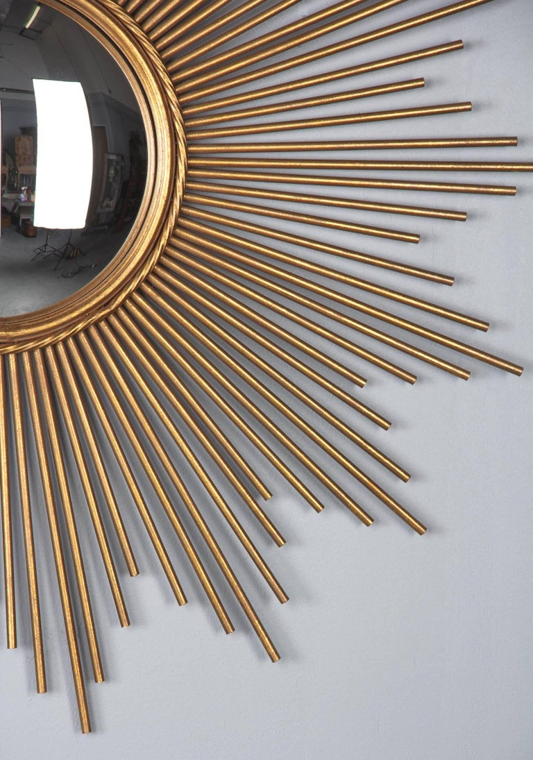 Gilt French Midcentury Gilded Metal Sunburst Mirror For Sale