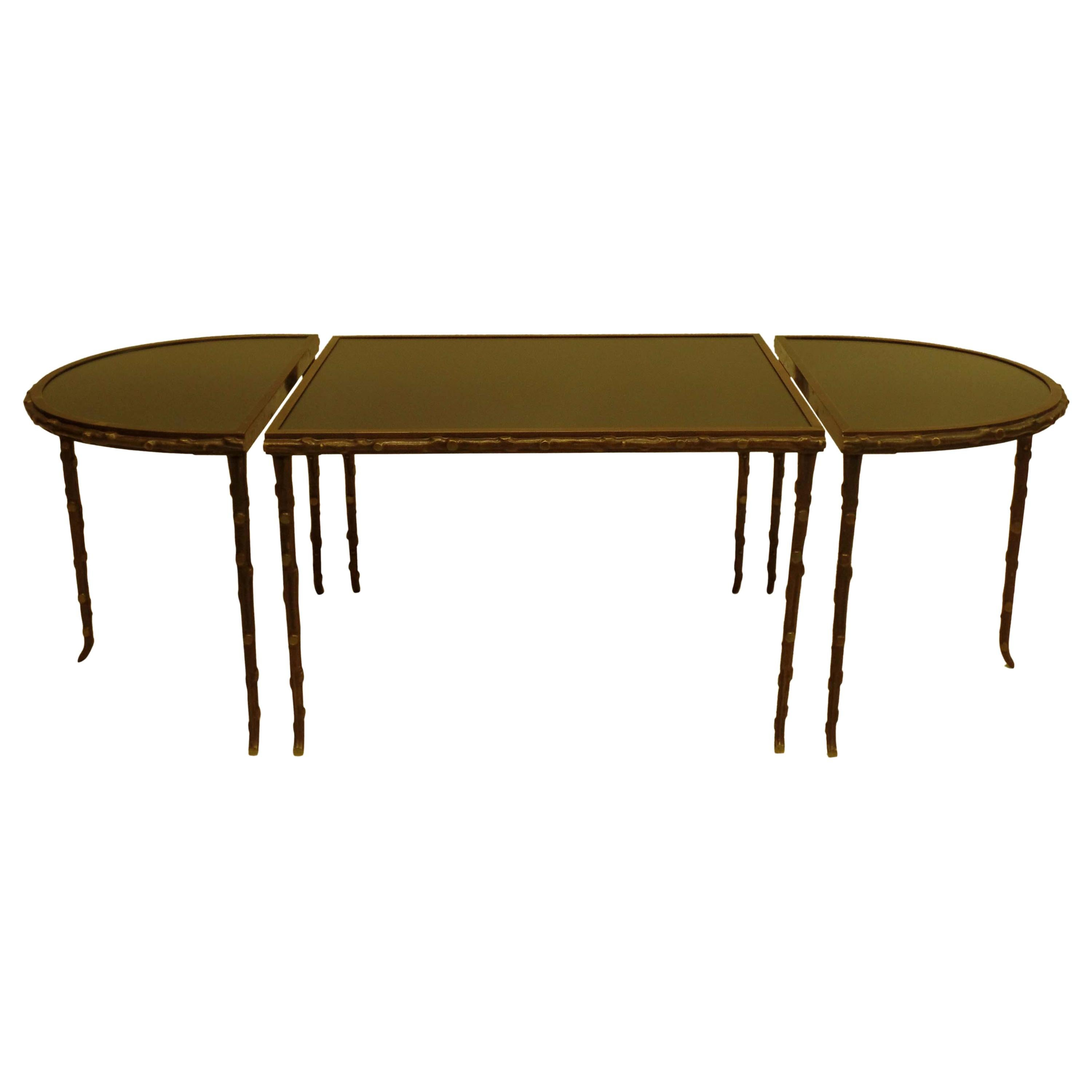 French Midcentury Gilt Bronze Faux Bamboo 3 Part Coffee Table by Maison Baguès