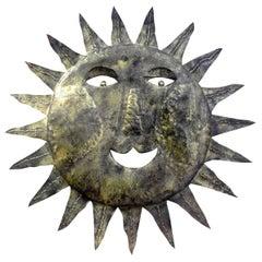 French Midcentury Gilt Metal Sunburst