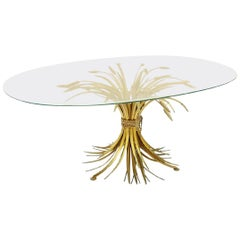 1970s Coco Chanel Sheaf of Wheat Gilt Oval Glass and brass table France