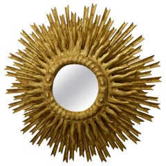 French Midcentury Giltwood Two-Layer Sunburst Mirror with Small Mirror Plate