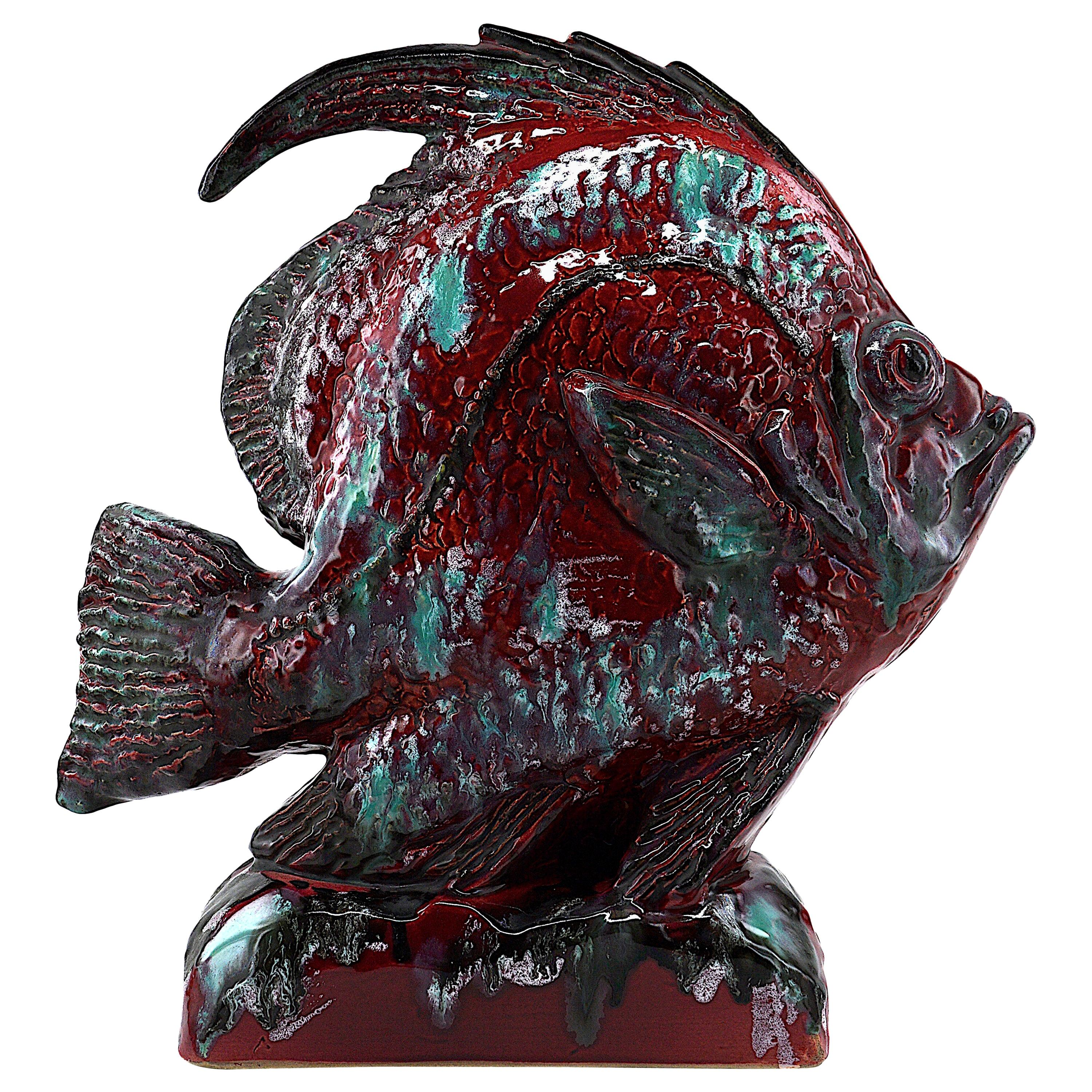 French Midcentury Glazed Terracotta Fish Sculpture, 1950s