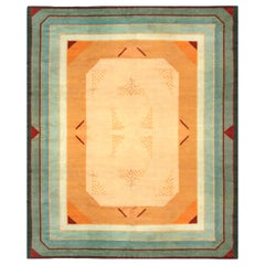 French Midcentury Green, Red and Yellow Art Deco Rug