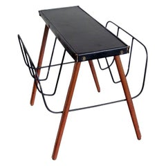 French Midcentury Handstitched Leather Magazine Stand / Bench by Jacques Adnet