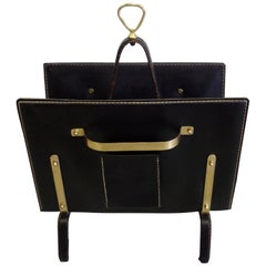 French Midcentury Handstitched Leather Magazine Stand by Jacques Adnet