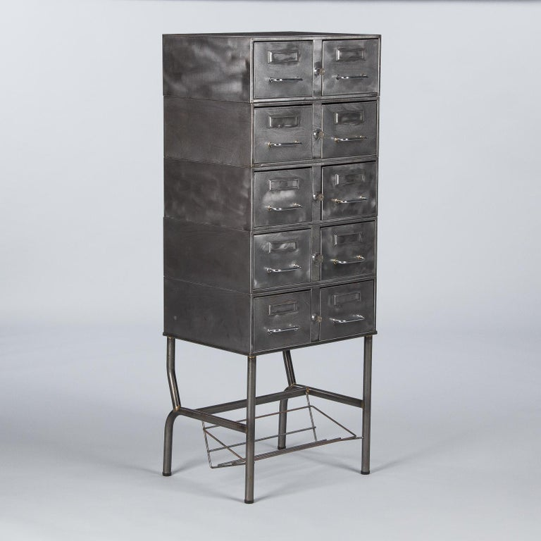 French Midcentury Industrial Polished Steel File Cabinet, 1950s For Sale 8