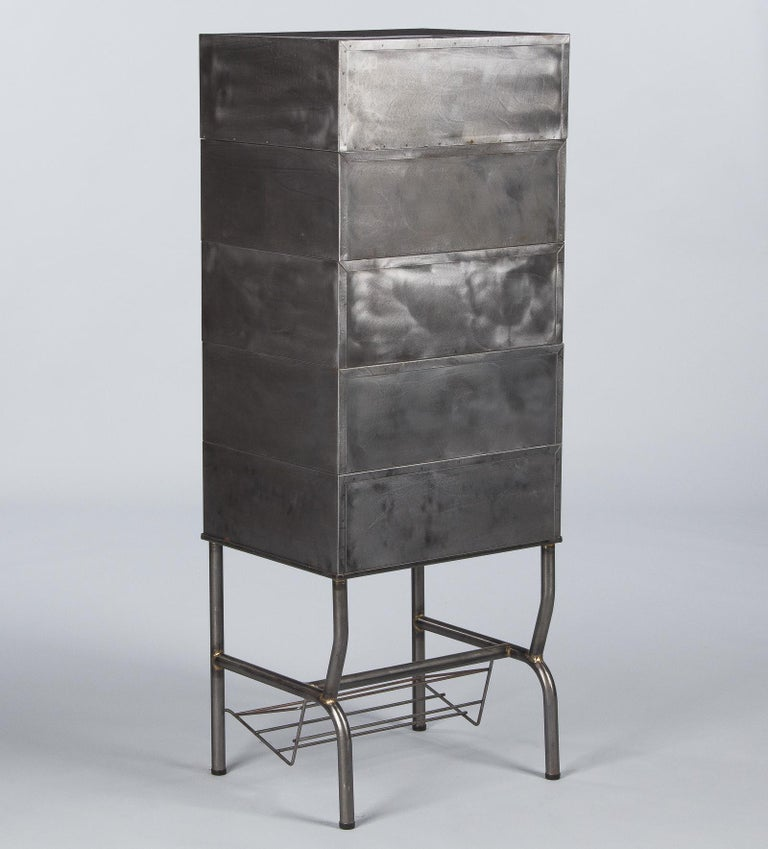 French Midcentury Industrial Polished Steel File Cabinet, 1950s For Sale 11