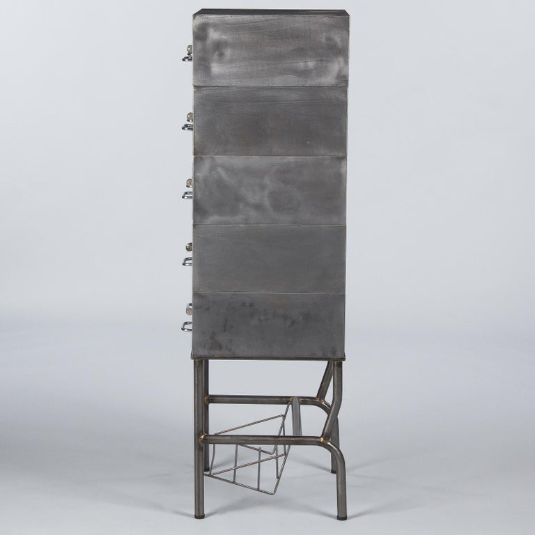 French Midcentury Industrial Polished Steel File Cabinet, 1950s For Sale 12