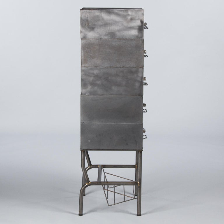 French Midcentury Industrial Polished Steel File Cabinet, 1950s For Sale 15