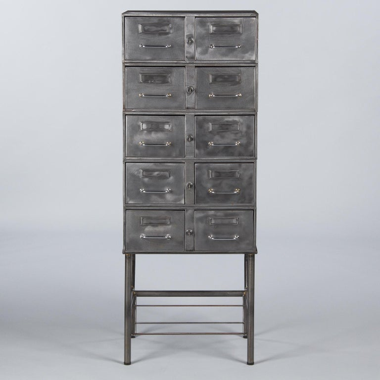 French Midcentury Industrial Polished Steel File Cabinet, 1950s For Sale 16