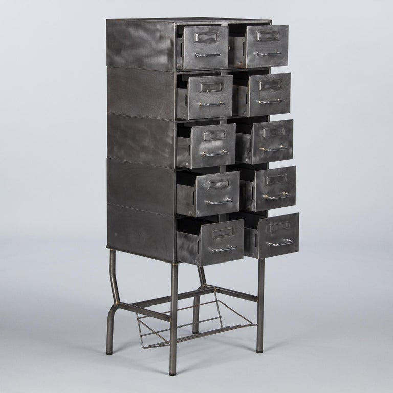 French Midcentury Industrial Polished Steel File Cabinet, 1950s In Good Condition For Sale In Austin, TX