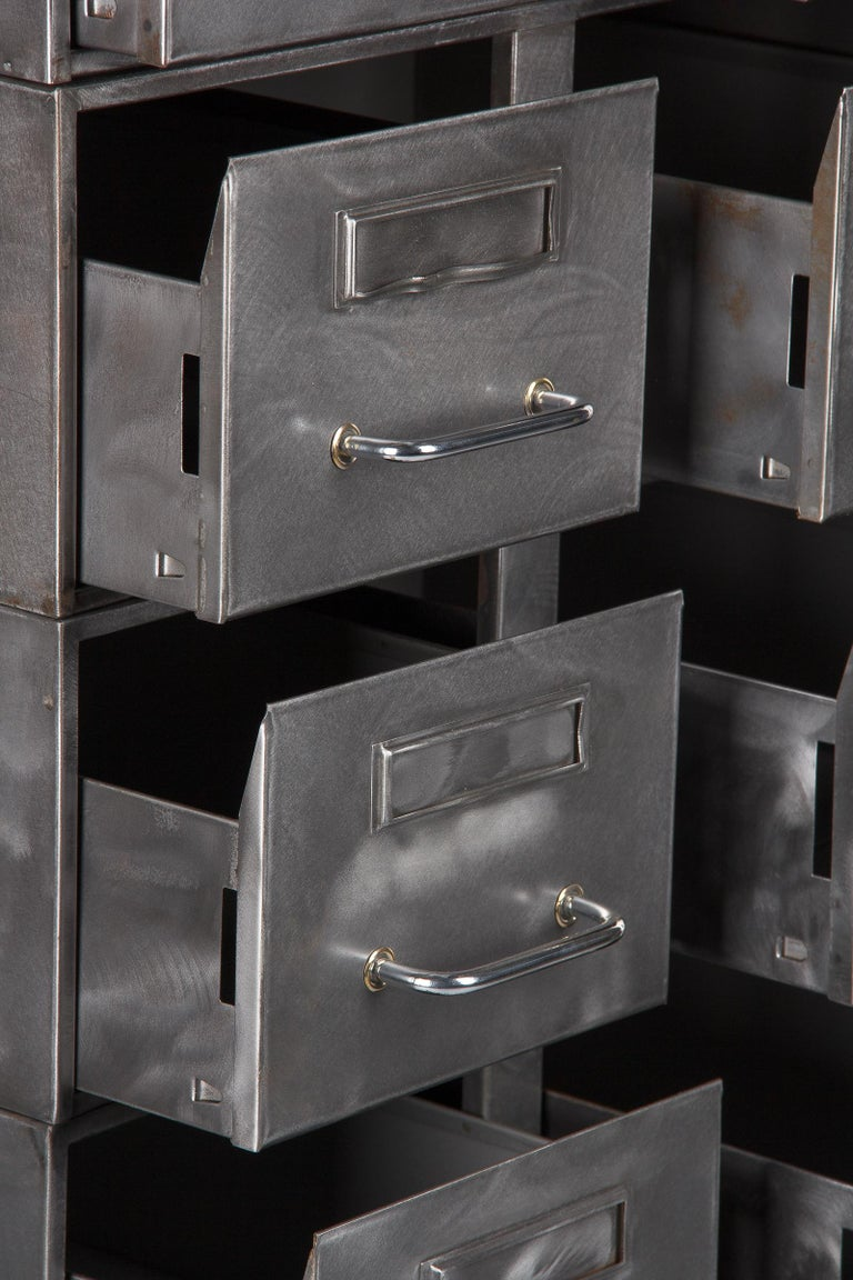 French Midcentury Industrial Polished Steel File Cabinet, 1950s For Sale 1