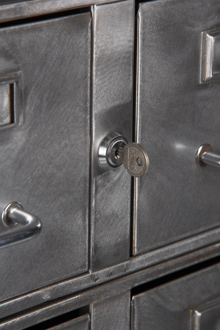 French Midcentury Industrial Polished Steel File Cabinet, 1950s For Sale 2