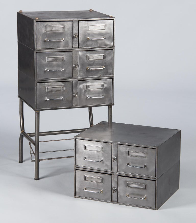 French Midcentury Industrial Polished Steel File Cabinet, 1950s For Sale 3