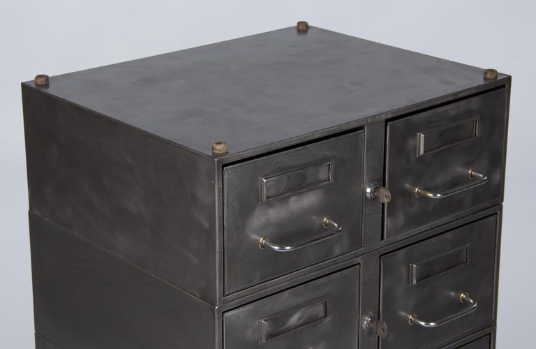 French Midcentury Industrial Polished Steel File Cabinet, 1950s For Sale 6