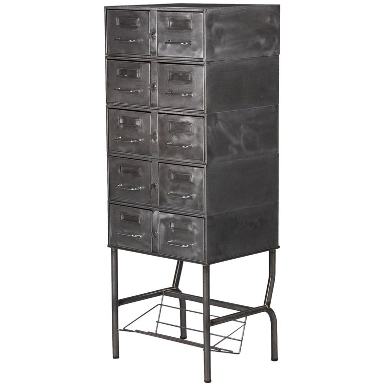 French Midcentury Industrial Polished Steel File Cabinet, 1950s For Sale