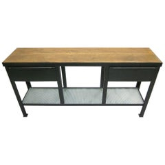 Midcentury Industrial Steel & Wood Console / Sideboard Attributed to Jean Prouve