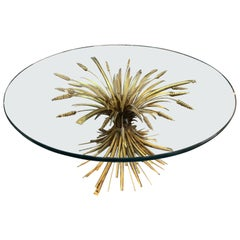 French Midcentury Jansen Style Gilt Metal Wheat Form Coffee Table