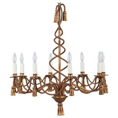 French Midcentury Louis XVI Style Gilded Metal 8-Light Chandelier