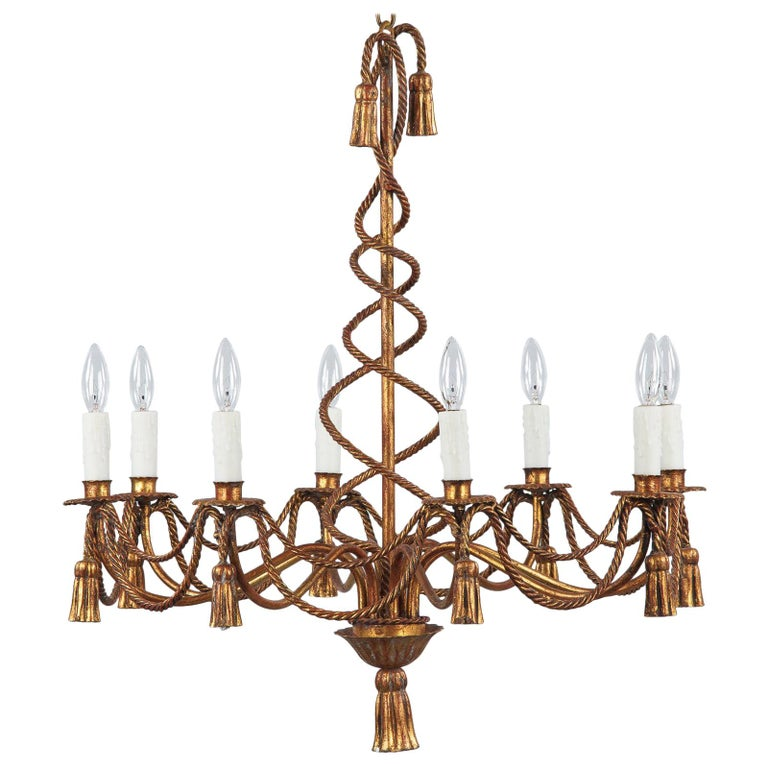 French Midcentury Louis XVI Style Gilded Metal 8-Light Chandelier For Sale