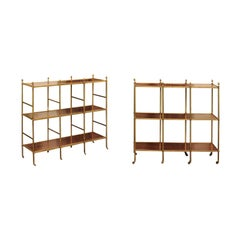French Midcentury Mahogany and Brass Tiered Trolleys with Casters, circa 1950