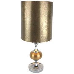French Midcentury Maison Jansen Inspired Chrome Gold Shaded Table Lamp