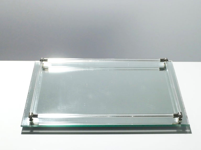 Mid-Century Modern French Midcentury Mirrored Tray Style of Jacques Adnet, 1940s For Sale
