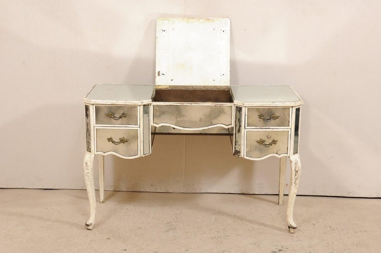 Carved French Midcentury Mirrored Wood Dressing Table on Cabriole Legs For Sale