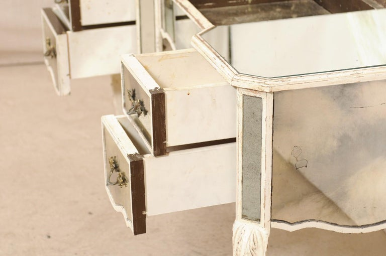 20th Century French Midcentury Mirrored Wood Dressing Table on Cabriole Legs For Sale
