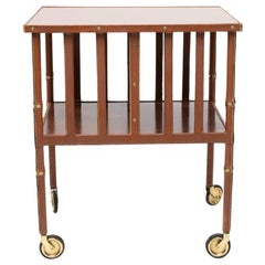 French Midcentury Mobile Bookshelf with Four Brass Wheel by Jacques Adnet