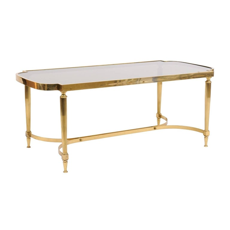 French Midcentury Modern Bronze Coffee Table with Smoked Glass and Reeded Legs