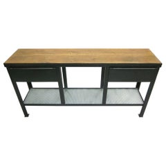 French Midcentury Modern Steel & Walnut Console / Sideboard, Jean Prouve