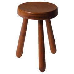 French Mid-Century Modern Stool in Solid Elm