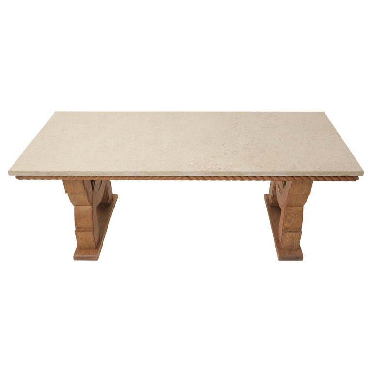French Midcentury Natural Beige Comblanchien Stone and Carved Oak Base Table For Sale