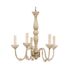 French Midcentury Neutral Painted Wood and Iron Five-Light Chandelier