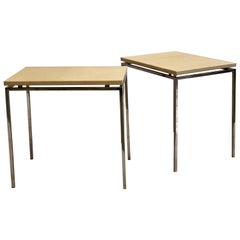 French Midcentury Nickel & Parchment Leather Side Tables Ramsay Attributed, Pair