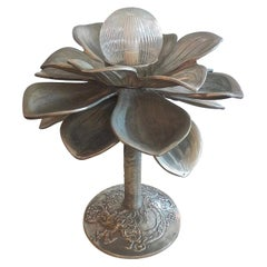 French Midcentury Nickel Silver Table Lamp with Floral Embossed Base