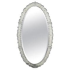 French Midcentury Oval Venetian Glass Mirror, 1950s