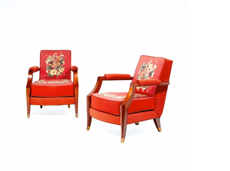 French Midcentury Pair of Armchairs by Baptistin Spade For Sale 10