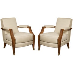French Midcentury Pair of Armchairs by Baptistin Spade