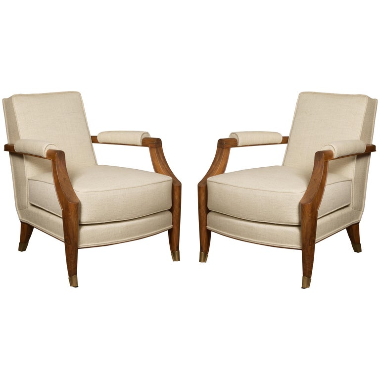 French Midcentury Pair of Armchairs by Baptistin Spade For Sale