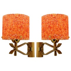French Midcentury Pop Art Wall Sconces, Late 1960s