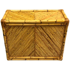 French Midcentury Rattan and Bamboo Sideboard / Cabinet, Jean Royère Attributed