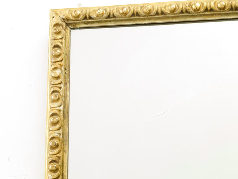 French Midcentury Rectangular Giltwood Mirror with Carved Ovoid Motifs In Good Condition For Sale In Atlanta, GA