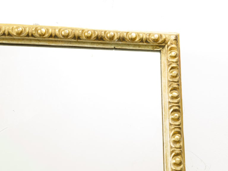 20th Century French Midcentury Rectangular Giltwood Mirror with Carved Ovoid Motifs For Sale