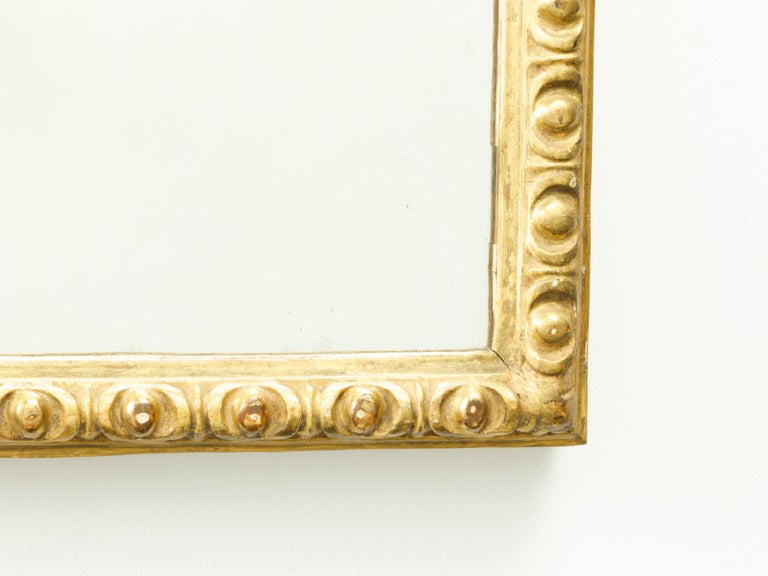 French Midcentury Rectangular Giltwood Mirror with Carved Ovoid Motifs For Sale 1