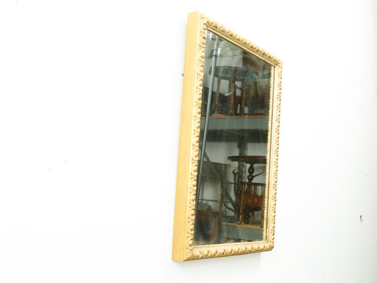French Midcentury Rectangular Giltwood Mirror with Carved Ovoid Motifs For Sale 2
