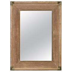 French Midcentury Rectangular Mirror with Brass Accents and Natural Patina