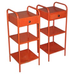 French Midcentury Red Enamel Steel Nightstands / Side Tables, Jean Prouve, Pair