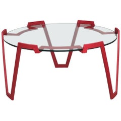 French Midcentury Red Metal Coffee Table